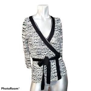 Missoni Black White Knit Wrap Top Size 4/ Small